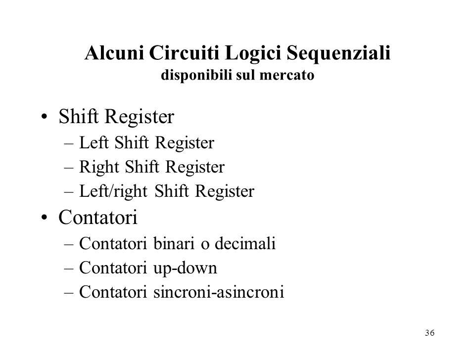 36 Alcuni Circuiti Logici Sequenziali disponibili sul mercato Shift Register –Left Shift Register –Right Shift Register –Left/right Shift Register Contatori –Contatori binari o decimali –Contatori up-down –Contatori sincroni-asincroni