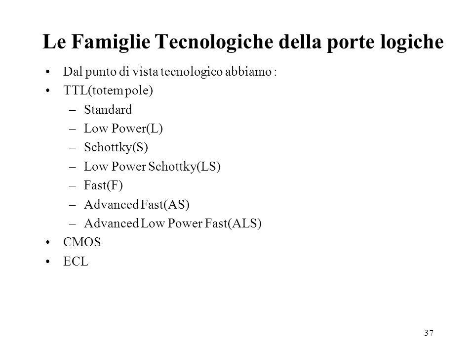 37 Le Famiglie Tecnologiche della porte logiche Dal punto di vista tecnologico abbiamo : TTL(totem pole) –Standard –Low Power(L) –Schottky(S) –Low Power Schottky(LS) –Fast(F) –Advanced Fast(AS) –Advanced Low Power Fast(ALS) CMOS ECL