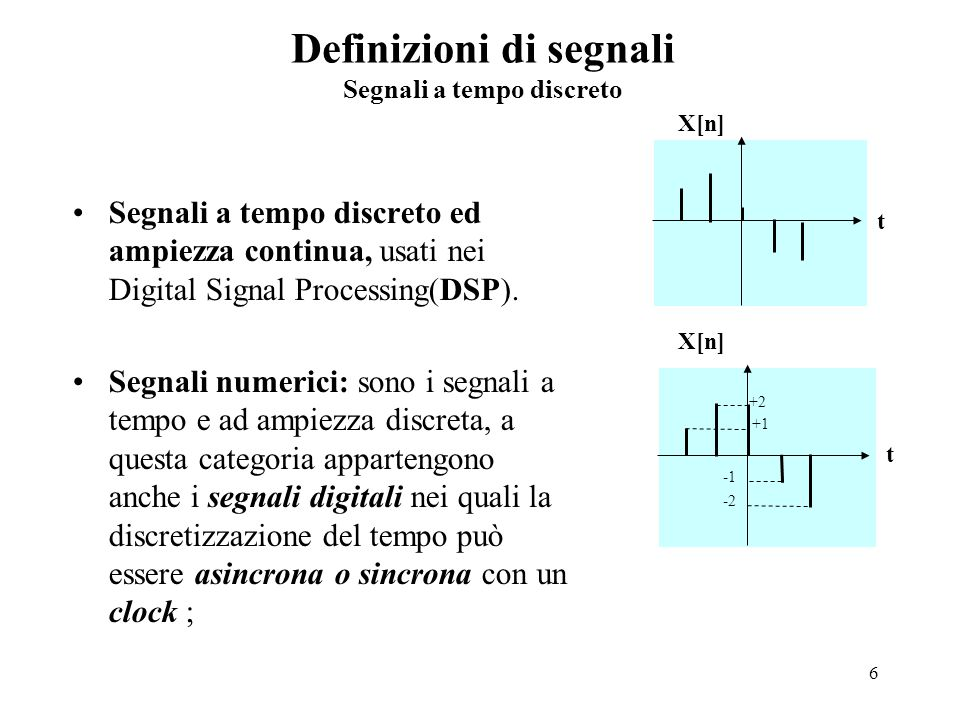 6 Definizioni di segnali Segnali a tempo discreto Segnali a tempo discreto ed ampiezza continua, usati nei Digital Signal Processing(DSP). Segnali num