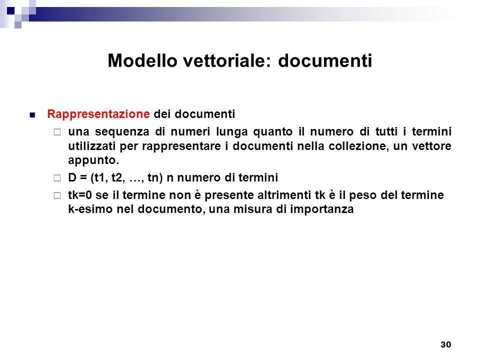 30 Modello vettoriale: documenti Rappresentazione dei documenti  una sequenza di numeri lunga quanto il numero di tutti i termini utilizzati per rappresentare i documenti nella collezione, un vettore appunto.