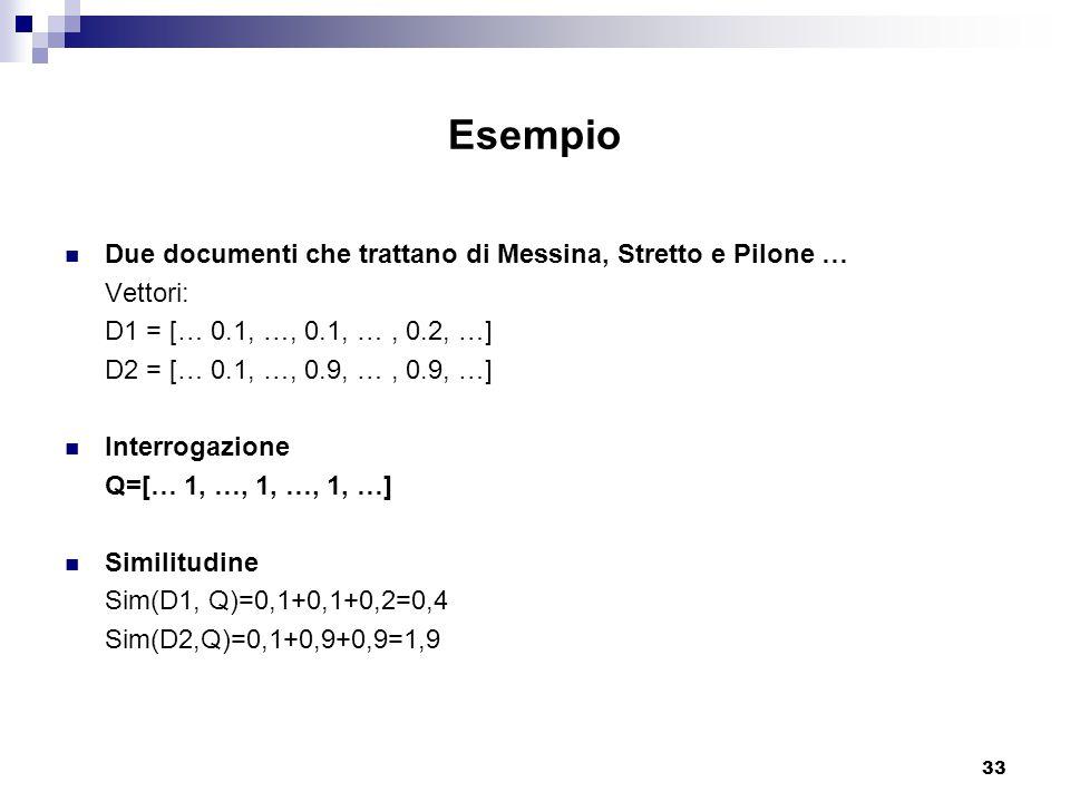 33 Esempio Due documenti che trattano di Messina, Stretto e Pilone … Vettori: D1 = [… 0.1, …, 0.1, …, 0.2, …] D2 = [… 0.1, …, 0.9, …, 0.9, …] Interrogazione Q=[… 1, …, 1, …, 1, …] Similitudine Sim(D1, Q)=0,1+0,1+0,2=0,4 Sim(D2,Q)=0,1+0,9+0,9=1,9