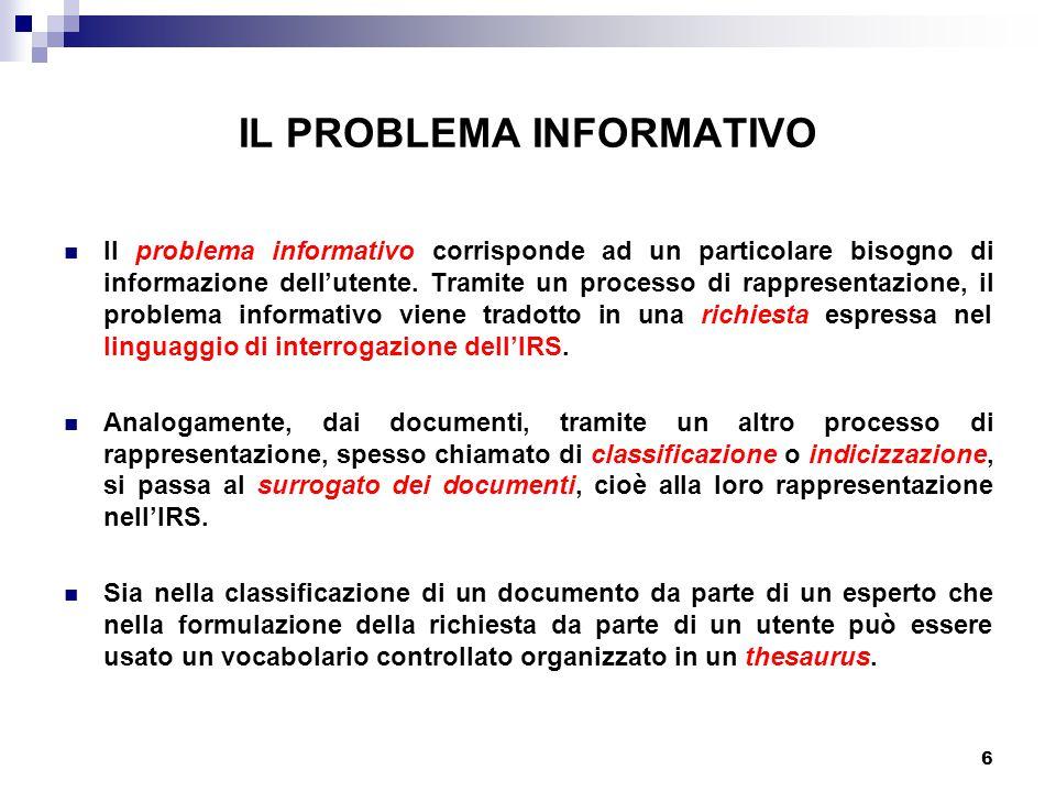 6 IL PROBLEMA INFORMATIVO Il problema informativo corrisponde ad un particolare bisogno di informazione dell'utente.