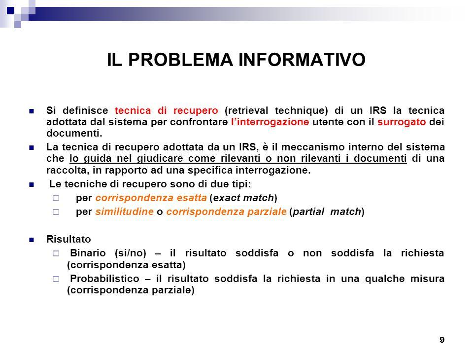 9 IL PROBLEMA INFORMATIVO Si definisce tecnica di recupero (retrieval technique) di un IRS la tecnica adottata dal sistema per confrontare l'interrogazione utente con il surrogato dei documenti.