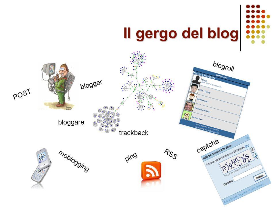 Il gergo del blog POST blogger bloggare trackback ping RSS blogroll moblogging captcha