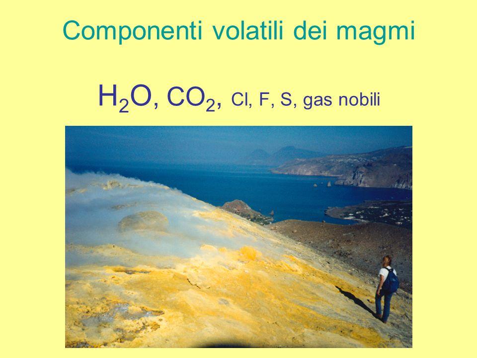 Componenti volatili dei magmi H 2 O, CO 2, Cl, F, S, gas nobili