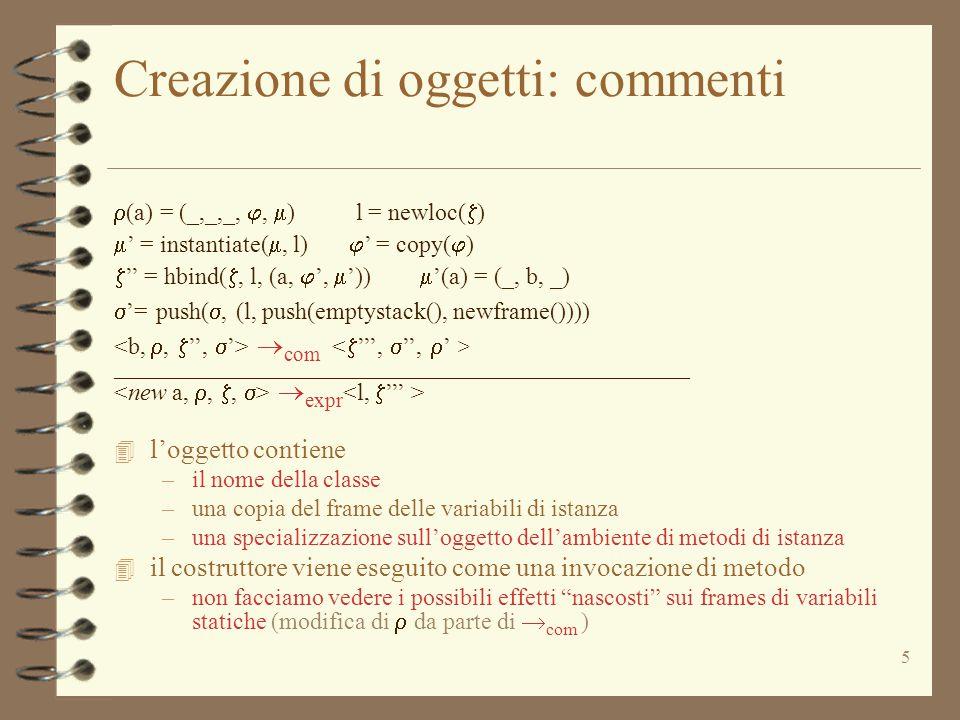 16 Semantica delle dichiarazioni Com := Type Id = Expr (dichiarazione) Com * Cenv * Heap * Astack  com Heap * Astack * Cenv top(  ) = (x,  )  = top(  )  expr  '= bind( , i, v)  '=push(pop(  ), (x,push(pop(  ),  '))) _________________________________________  com  la bind modifica  dentro 