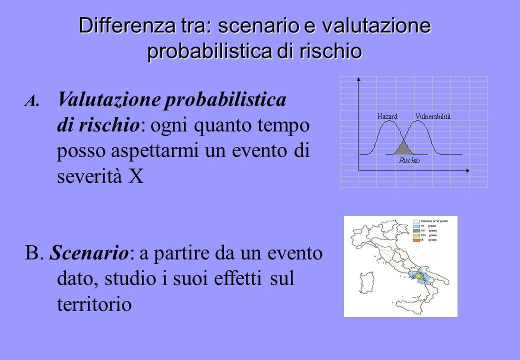 Differenza tra: scenario e valutazione probabilistica di rischio A. Valutazione probabilistica di rischio: ogni quanto tempo posso aspettarmi un event