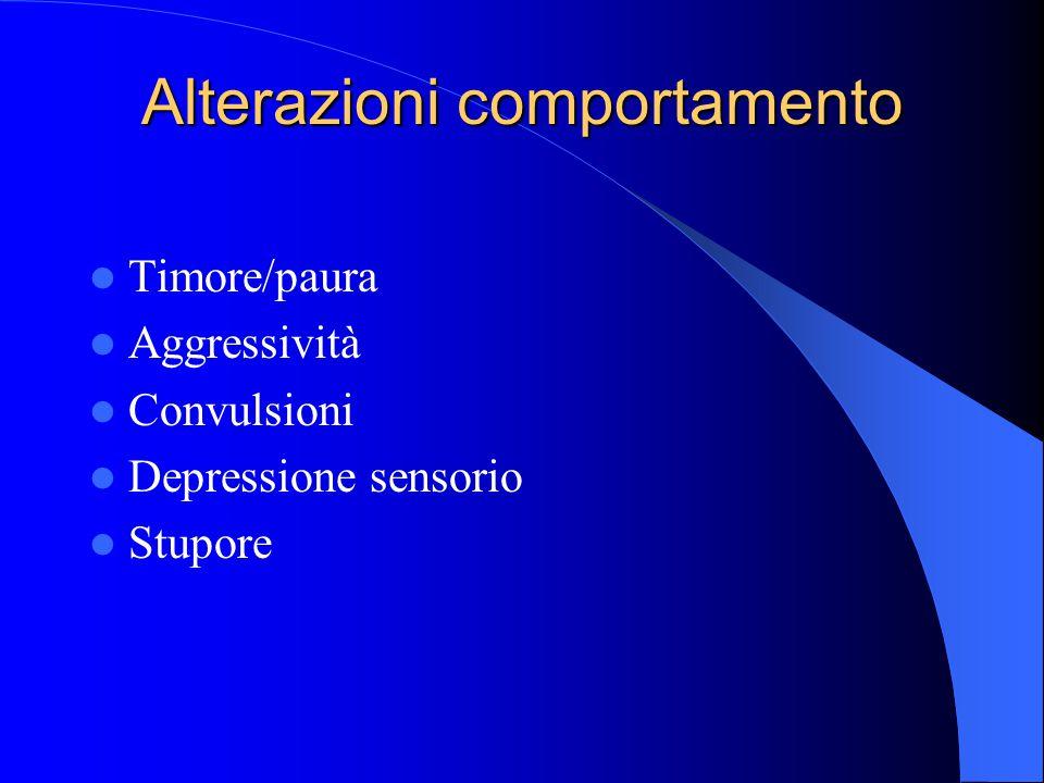 Alterazioni comportamento Timore/paura Aggressività Convulsioni Depressione sensorio Stupore
