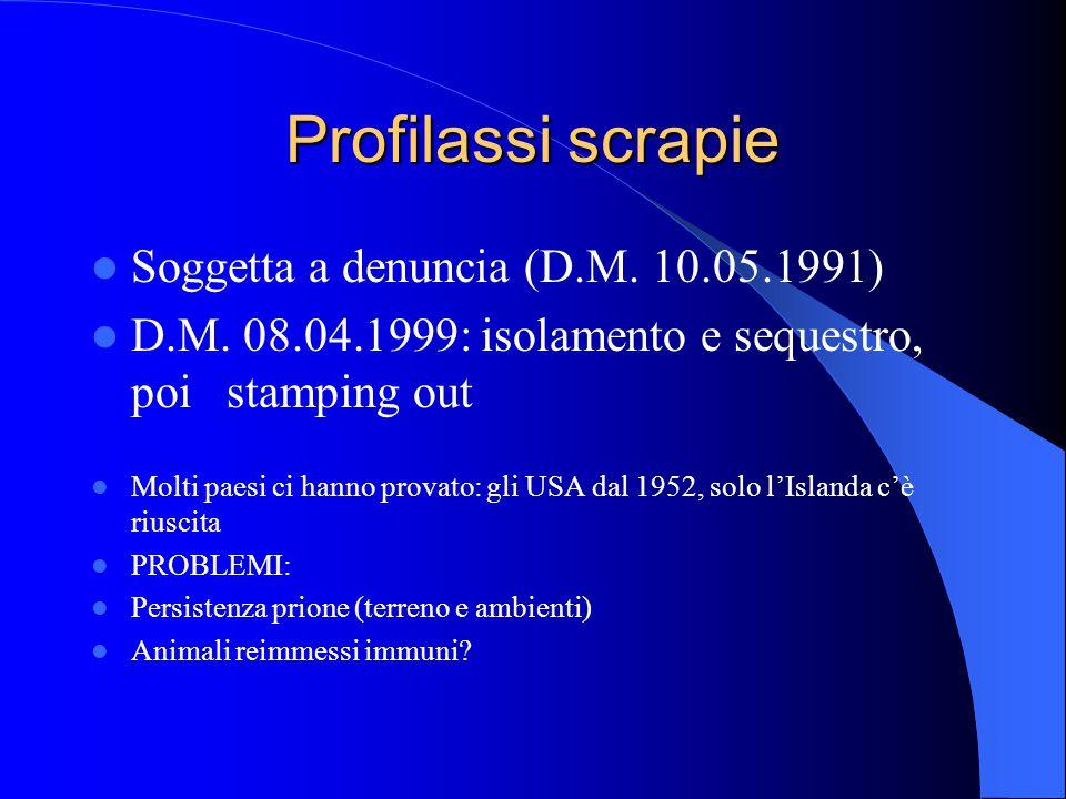 Profilassi scrapie Soggetta a denuncia (D.M.10.05.1991) D.M.