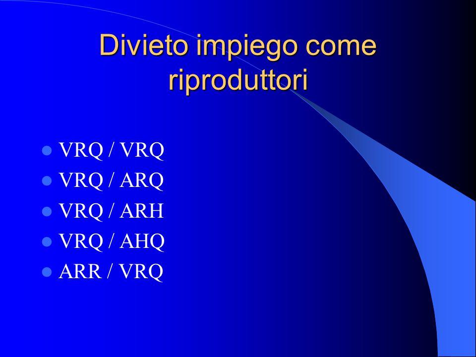 Divieto impiego come riproduttori VRQ / VRQ VRQ / ARQ VRQ / ARH VRQ / AHQ ARR / VRQ