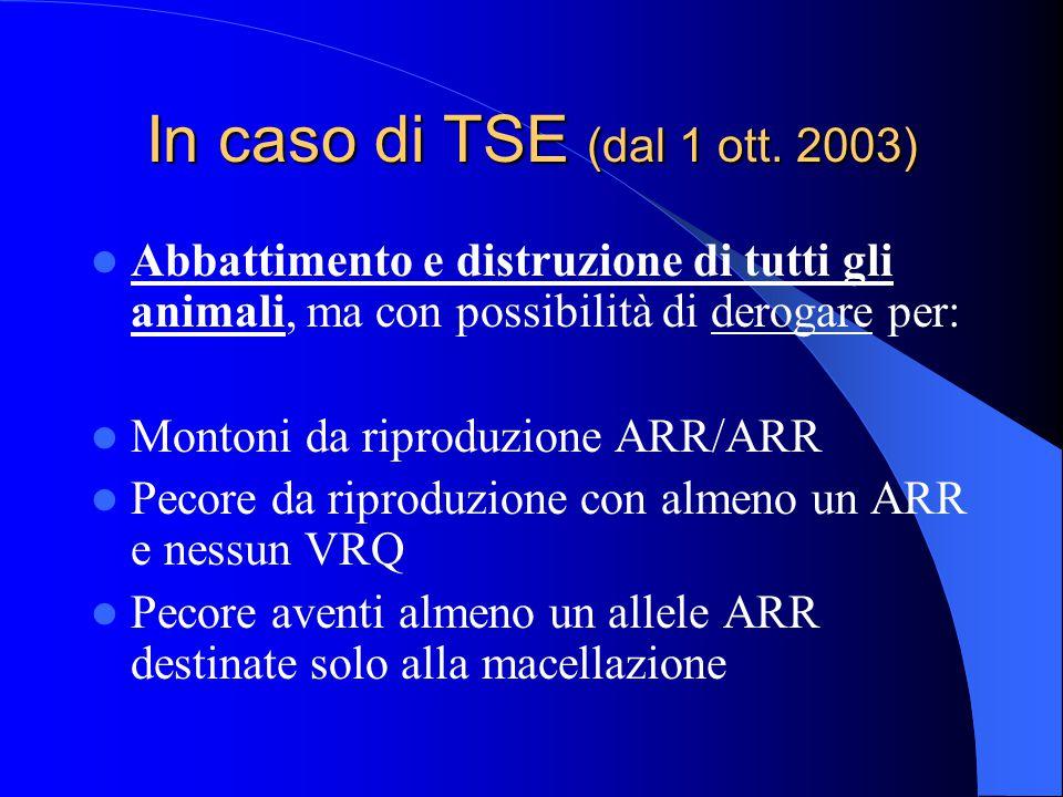 In caso di TSE (dal 1 ott.