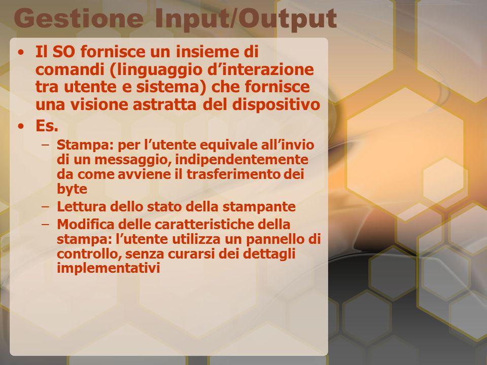Gestione Input/Output Il SO fornisce un insieme di comandi (linguaggio d'interazione tra utente e sistema) che fornisce una visione astratta del dispositivo Es.