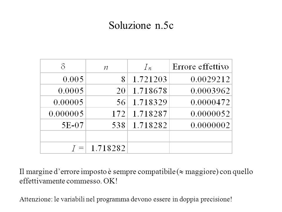 Soluzione n.5c Il margine d'errore imposto è sempre compatibile (  maggiore) con quello effettivamente commesso.