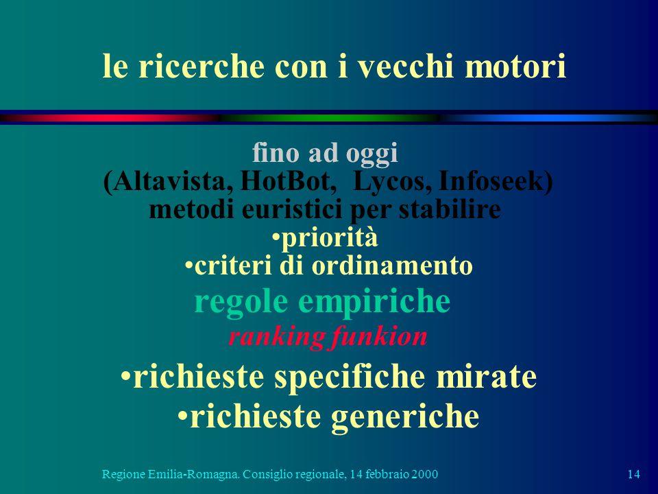 Regione Emilia-Romagna. Consiglio regionale, 14 febbraio 200014 fino ad oggi (Altavista, HotBot, Lycos, Infoseek) metodi euristici per stabilire prior