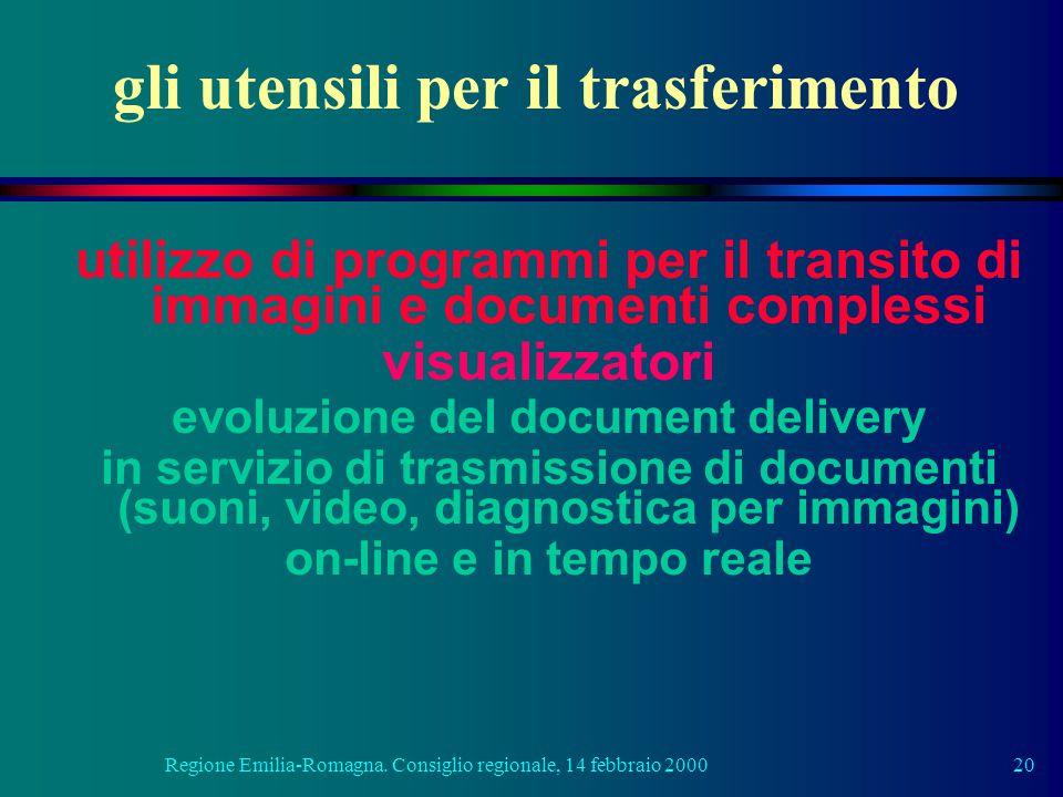 Regione Emilia-Romagna. Consiglio regionale, 14 febbraio 200020 gli utensili per il trasferimento utilizzo di programmi per il transito di immagini e