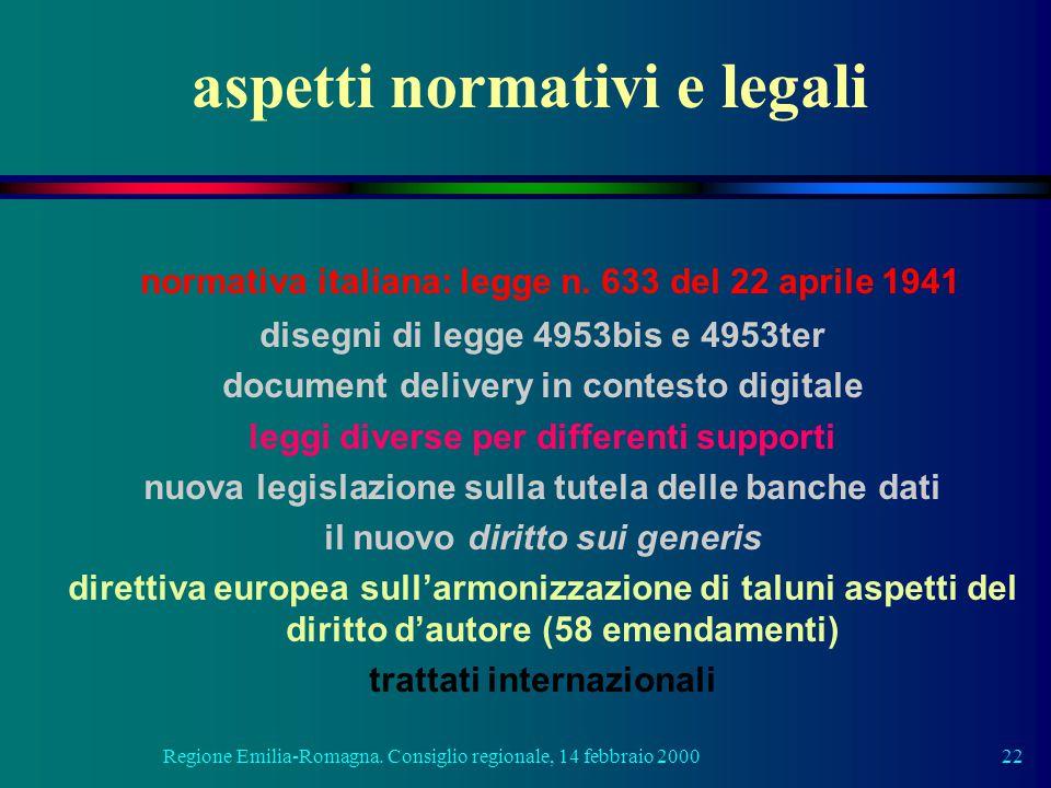Regione Emilia-Romagna. Consiglio regionale, 14 febbraio 200022 aspetti normativi e legali normativa italiana: legge n. 633 del 22 aprile 1941 disegni