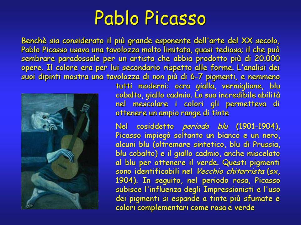 Pablo Picasso Benchè sia considerato il più grande esponente dell arte del XX secolo, Pablo Picasso usava una tavolozza molto limitata, quasi tediosa; il che può sembrare paradossale per un artista che abbia prodotto più di 20.000 opere.