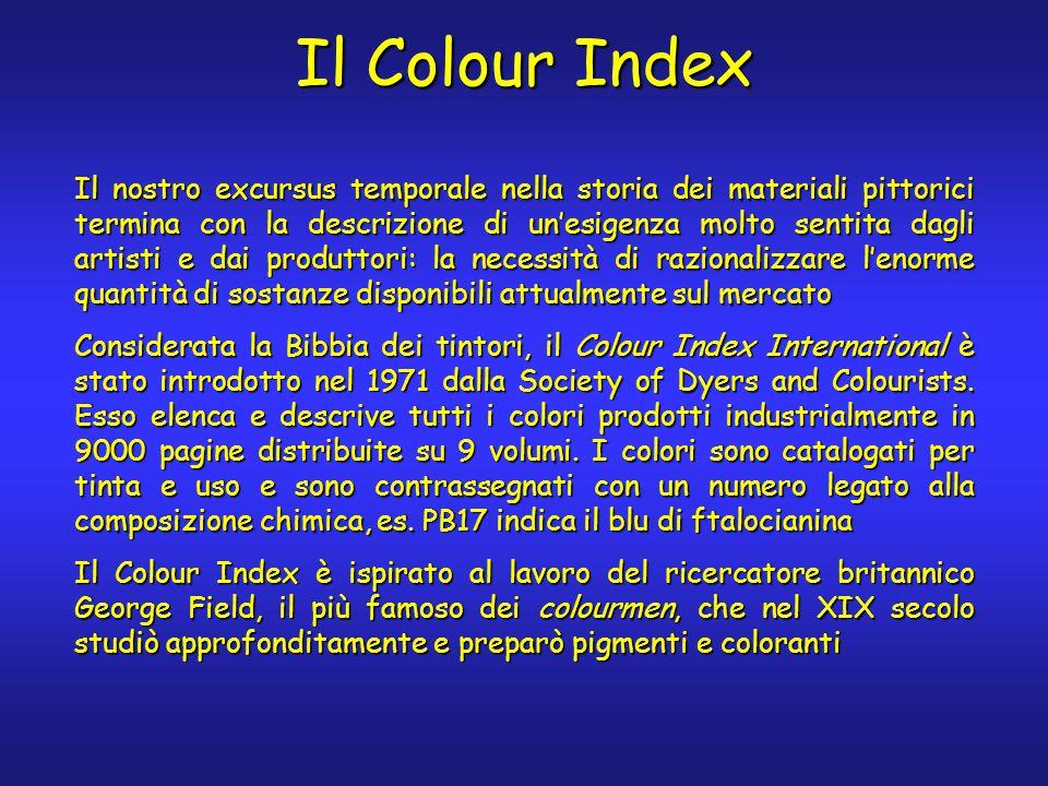 Il Colour Index Il nostro excursus temporale nella storia dei materiali pittorici termina con la descrizione di un'esigenza molto sentita dagli artisti e dai produttori: la necessità di razionalizzare l'enorme quantità di sostanze disponibili attualmente sul mercato Considerata la Bibbia dei tintori, il Colour Index International è stato introdotto nel 1971 dalla Society of Dyers and Colourists.