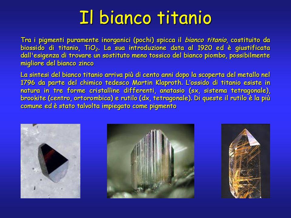 Il bianco titanio Tra i pigmenti puramente inorganici (pochi) spicca il bianco titanio, costituito da biossido di titanio, TiO 2.