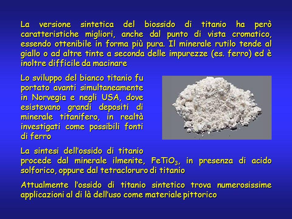 La versione sintetica del biossido di titanio ha però caratteristiche migliori, anche dal punto di vista cromatico, essendo ottenibile in forma più pura.