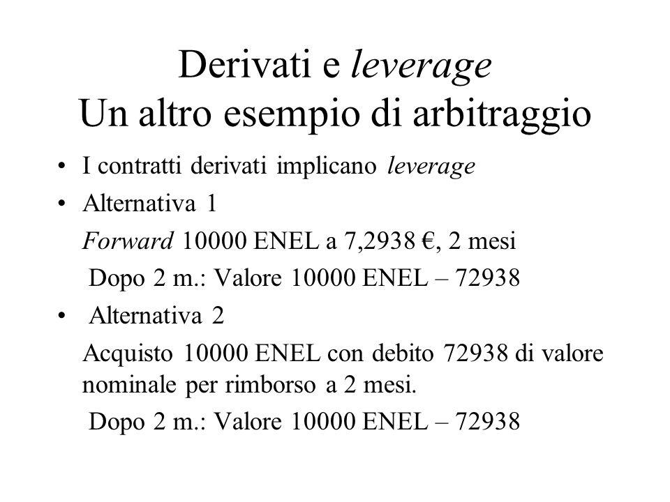 Call(Enel,16/03/05;7,400, 16/05/05) Consideriamo un portafoglio con  = (0,100 – 0)/(7,500 – 7,100) = 0,25 Enel W = – 0,25 x 7,100 = – 1,775 (leverage) Notiamo che al tempo T C(H) = 0,100 = 0,25 x 7,500 – 1,775 C(L) = 0 = 0,25 x 7,100 – 1,775 Il principio di non arbitraggio implica che alla data di valutazione 16/03/05 sia Call(Enel,t) = 0,25 x 7,269 – 0,9966 x 1,775 = 0,048285 Una call su 10000 azioni Enel per strike price 7,400 vale quindi 4828,5 € e corrisponde a Una posizione lunga in 2500 azioni ENEL sul mercato a pronti Debito (leverage) per 17750 € di nominale al 16/05/05