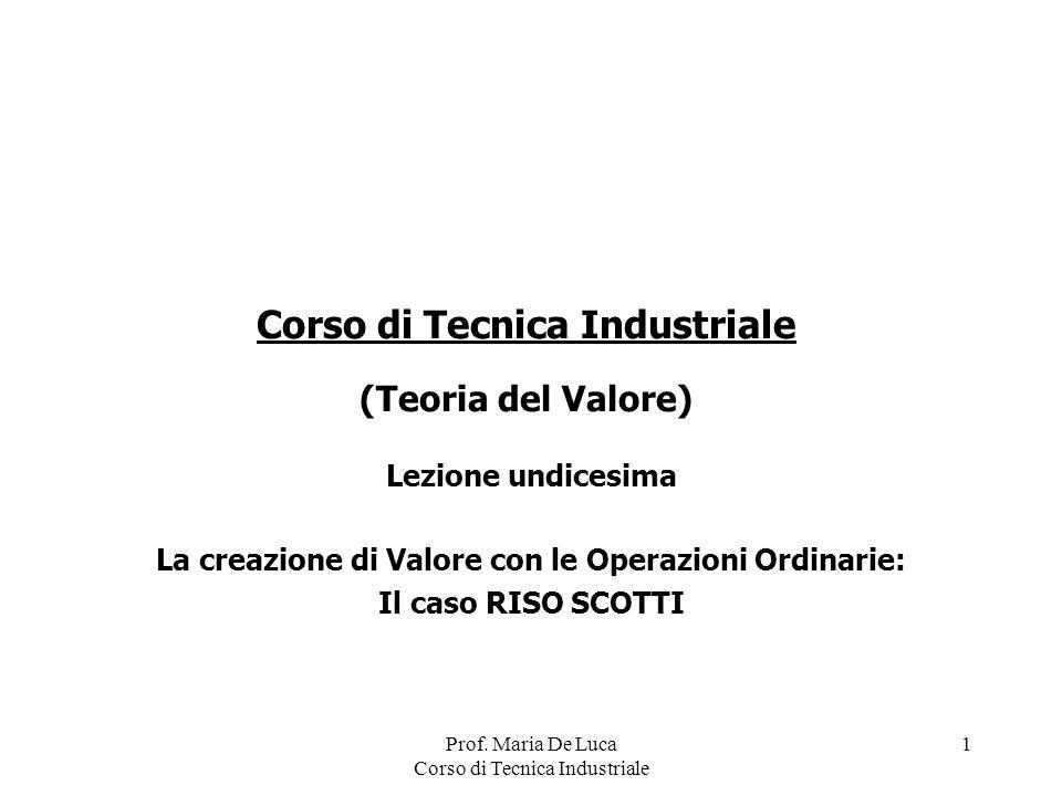 Prof. Maria De Luca Corso di Tecnica Industriale 1 Lezione undicesima La creazione di Valore con le Operazioni Ordinarie: Il caso RISO SCOTTI Corso di