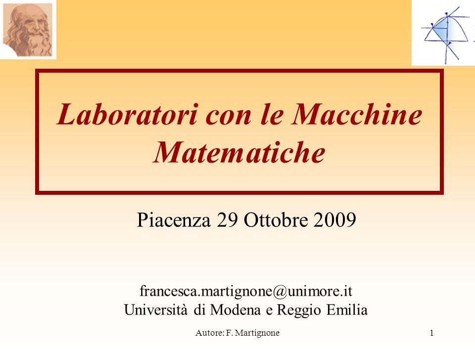 Laboratori con le Macchine Matematiche Piacenza 29 Ottobre 2009 francesca.martignone@unimore.it Università di Modena e Reggio Emilia 1Autore: F.