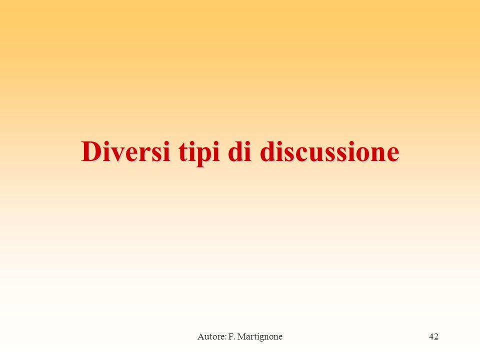Diversi tipi di discussione 42Autore: F. Martignone
