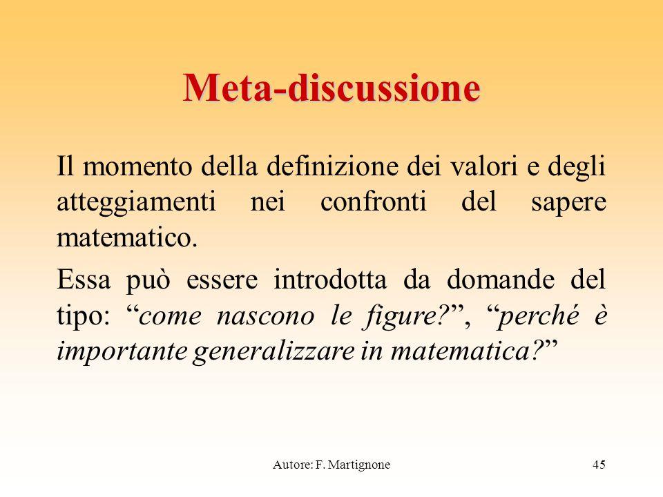 Meta-discussione Il momento della definizione dei valori e degli atteggiamenti nei confronti del sapere matematico.