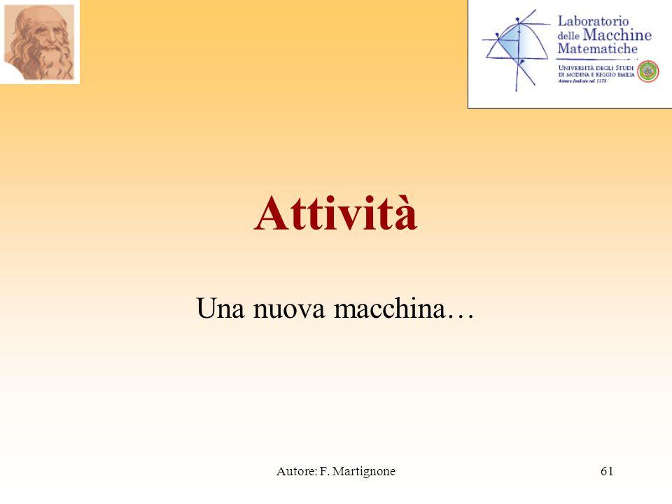 Attività Una nuova macchina… 61Autore: F. Martignone