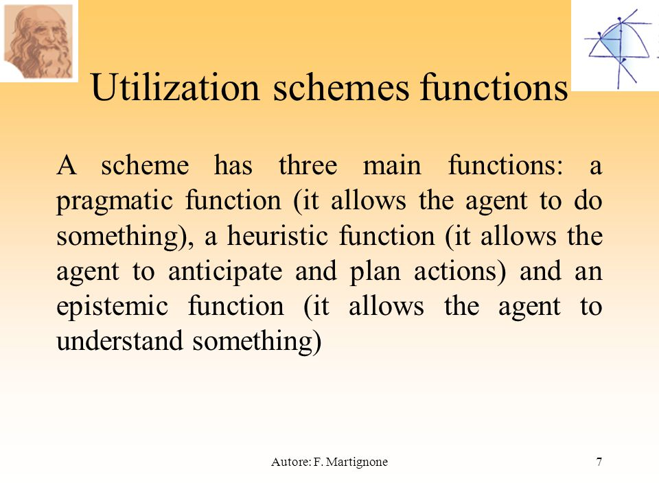 Utilization schemes functions A scheme has three main functions: a pragmatic function (it allows the agent to do something), a heuristic function (it allows the agent to anticipate and plan actions) and an epistemic function (it allows the agent to understand something) 7Autore: F.