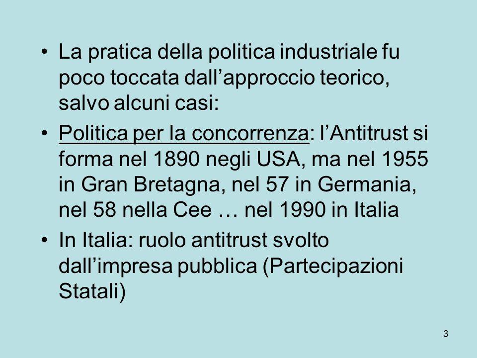 3 La pratica della politica industriale fu poco toccata dall'approccio teorico, salvo alcuni casi: Politica per la concorrenza: l'Antitrust si forma nel 1890 negli USA, ma nel 1955 in Gran Bretagna, nel 57 in Germania, nel 58 nella Cee … nel 1990 in Italia In Italia: ruolo antitrust svolto dall'impresa pubblica (Partecipazioni Statali)