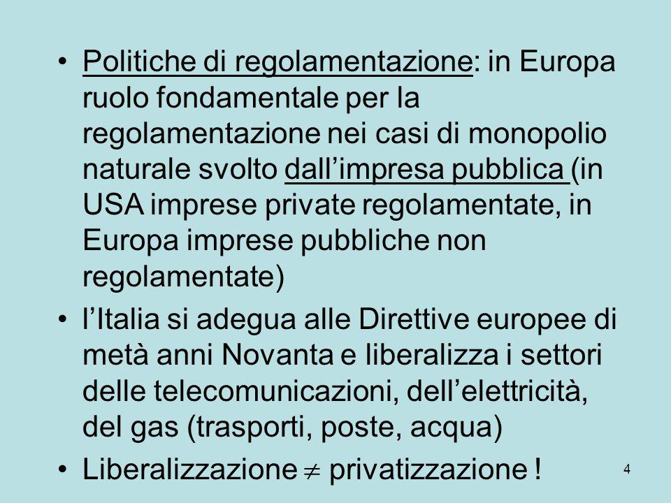 4 Politiche di regolamentazione: in Europa ruolo fondamentale per la regolamentazione nei casi di monopolio naturale svolto dall'impresa pubblica (in USA imprese private regolamentate, in Europa imprese pubbliche non regolamentate) l'Italia si adegua alle Direttive europee di metà anni Novanta e liberalizza i settori delle telecomunicazioni, dell'elettricità, del gas (trasporti, poste, acqua) Liberalizzazione  privatizzazione !