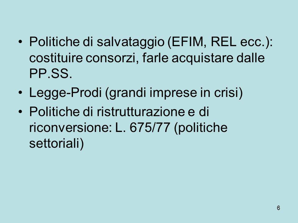 7 Dalla politica per settori alla politica per fattori → politiche orizzontali Prime privatizzazioni (SME, Alfa Romeo) Politiche regionali Il costo della non-Europa , 1987  PI italiana ← PI europea (definisce il quadro di riferimento)