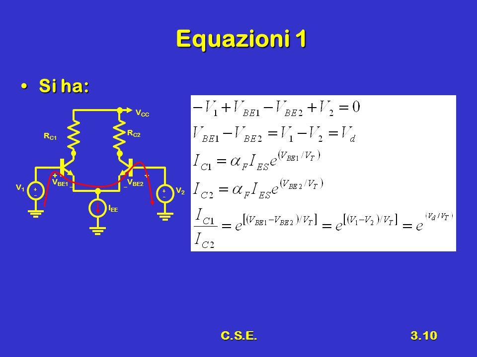 C.S.E.3.10 Equazioni 1 Si ha:Si ha: V BE1 R C1 R C2  V1V1 ++  V BE2 ++ V2V2 ++ I EE V CC