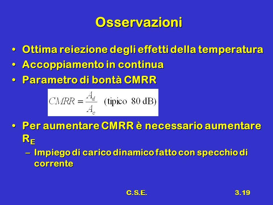 C.S.E.3.19 Osservazioni Ottima reiezione degli effetti della temperaturaOttima reiezione degli effetti della temperatura Accoppiamento in continuaAcco