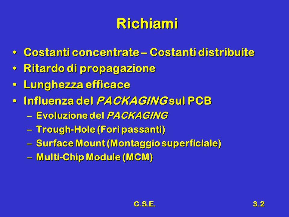 C.S.E.3.2 Richiami Costanti concentrate – Costanti distribuiteCostanti concentrate – Costanti distribuite Ritardo di propagazioneRitardo di propagazio