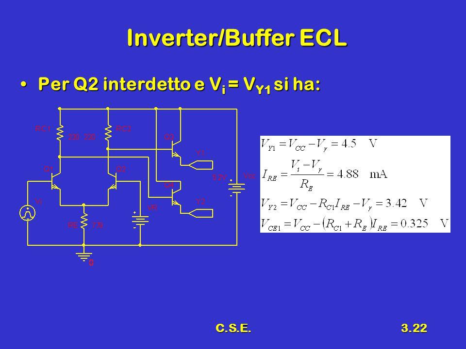 C.S.E.3.22 Inverter/Buffer ECL Per Q2 interdetto e V i = V Y1 si ha:Per Q2 interdetto e V i = V Y1 si ha: