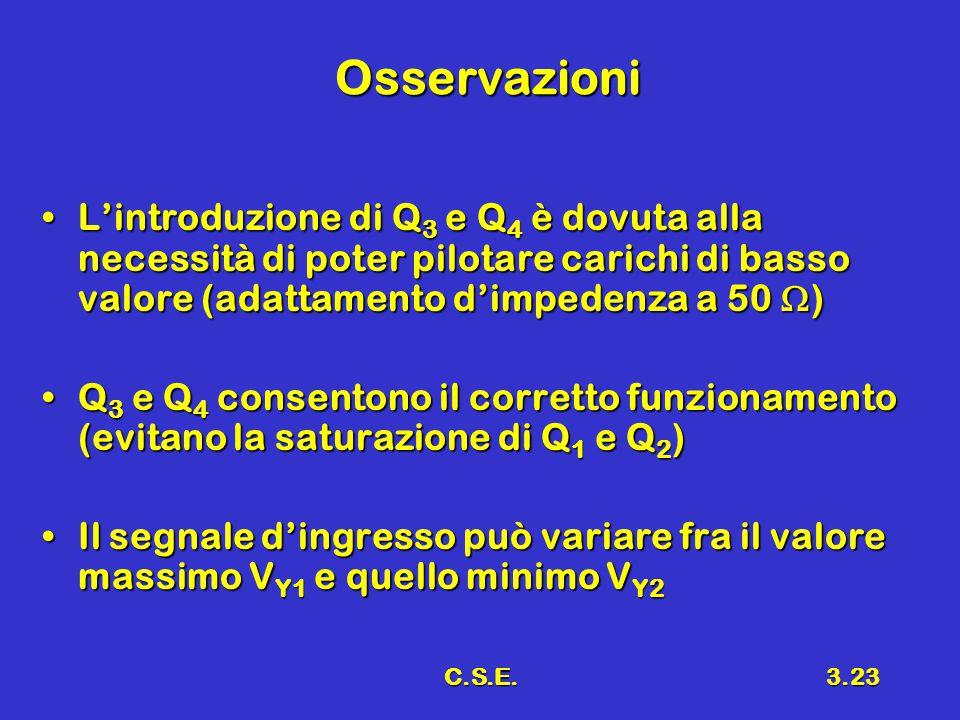 C.S.E.3.23 Osservazioni L'introduzione di Q 3 e Q 4 è dovuta alla necessità di poter pilotare carichi di basso valore (adattamento d'impedenza a 50 