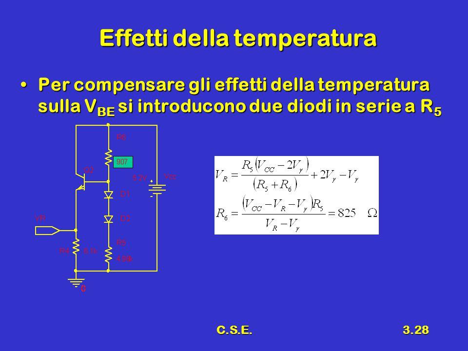 C.S.E.3.28 Effetti della temperatura Per compensare gli effetti della temperatura sulla V BE si introducono due diodi in serie a R 5Per compensare gli