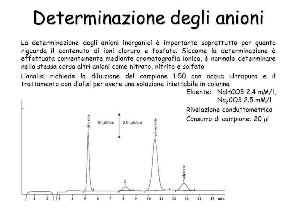 Determinazione degli anioni La determinazione degli anioni inorganici è importante soprattutto per quanto riguarda il contenuto di ioni cloruro e fosfato.