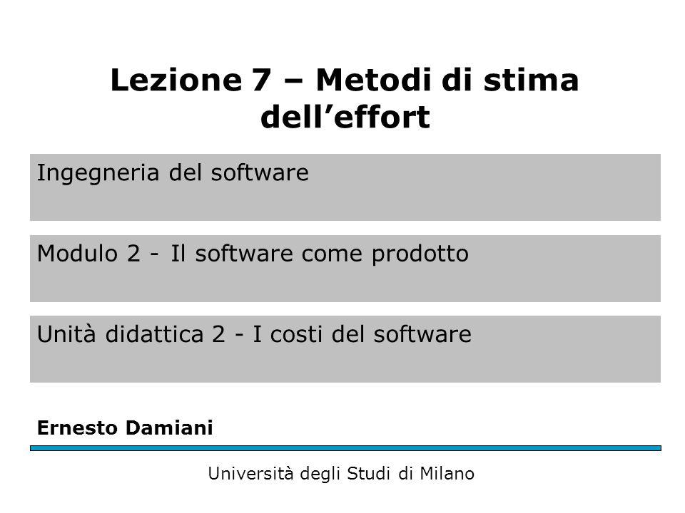 Ingegneria del software Modulo 2 -Il software come prodotto Unità didattica 2 - I costi del software Ernesto Damiani Università degli Studi di Milano Lezione 7 – Metodi di stima dell'effort