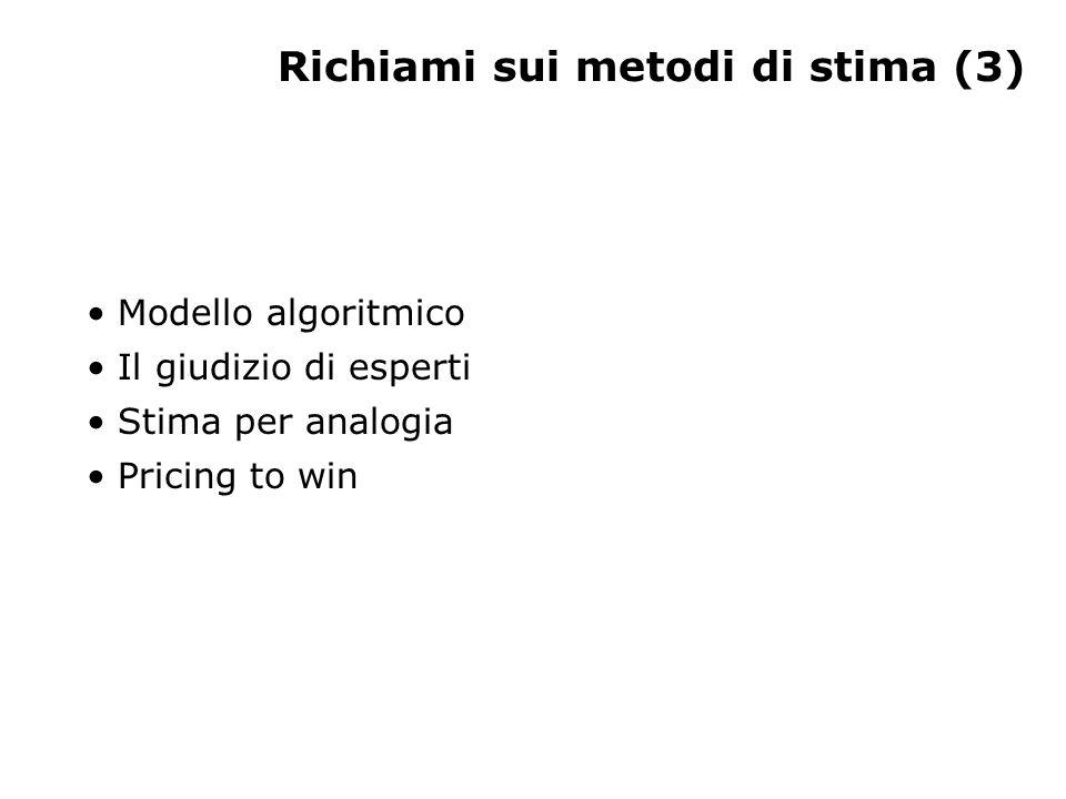 Richiami sui metodi di stima (3) Modello algoritmico Il giudizio di esperti Stima per analogia Pricing to win