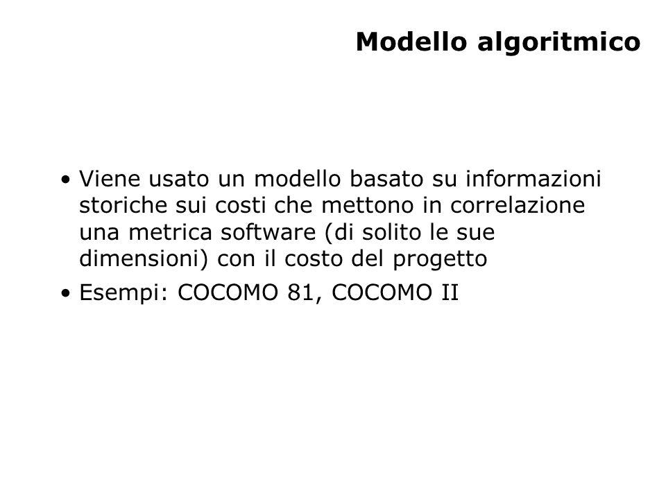 Modello algoritmico Viene usato un modello basato su informazioni storiche sui costi che mettono in correlazione una metrica software (di solito le su
