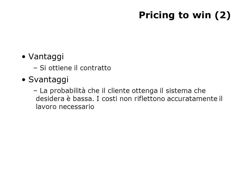 Pricing to win (2) Vantaggi – Si ottiene il contratto Svantaggi – La probabilità che il cliente ottenga il sistema che desidera è bassa. I costi non r