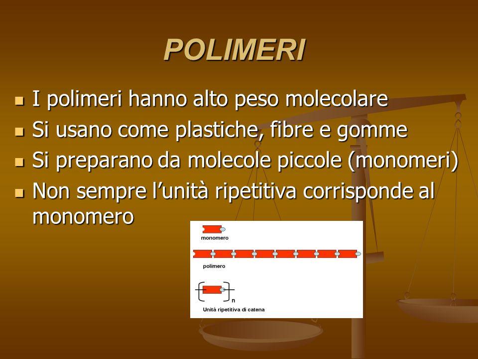 POLIMERI I polimeri hanno alto peso molecolare I polimeri hanno alto peso molecolare Si usano come plastiche, fibre e gomme Si usano come plastiche, f