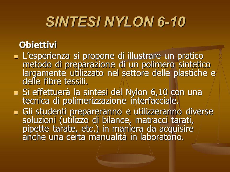 SINTESI NYLON 6-10 Reattivi usati : Reattivi usati : Sebacoil cloruro liquido Sebacoil cloruro liquido (decandioil dicloruro) Esametilendiammina Esametilendiammina (1,6 diamminoesano )