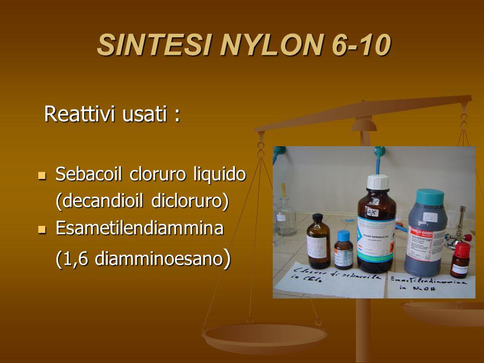 SINTESI NYLON 6-10 Reattivi usati : Reattivi usati : Sebacoil cloruro liquido Sebacoil cloruro liquido (decandioil dicloruro) Esametilendiammina Esame