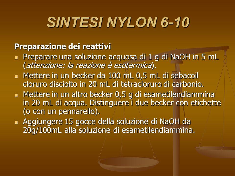 SINTESI NYLON 6-10 Preparazione del nylon Prelevare 5 mL di esametilendiammina metterli in un becker da 100 mL, aggiungere lentamente lungo le pareti del becker, 5 mL della soluzione di sebacoil cloruro in CCl4 in modo da formare due strati.