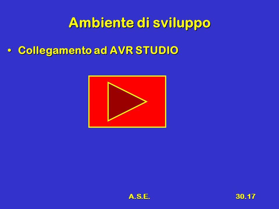 A.S.E.30.17 Ambiente di sviluppo Collegamento ad AVR STUDIOCollegamento ad AVR STUDIO